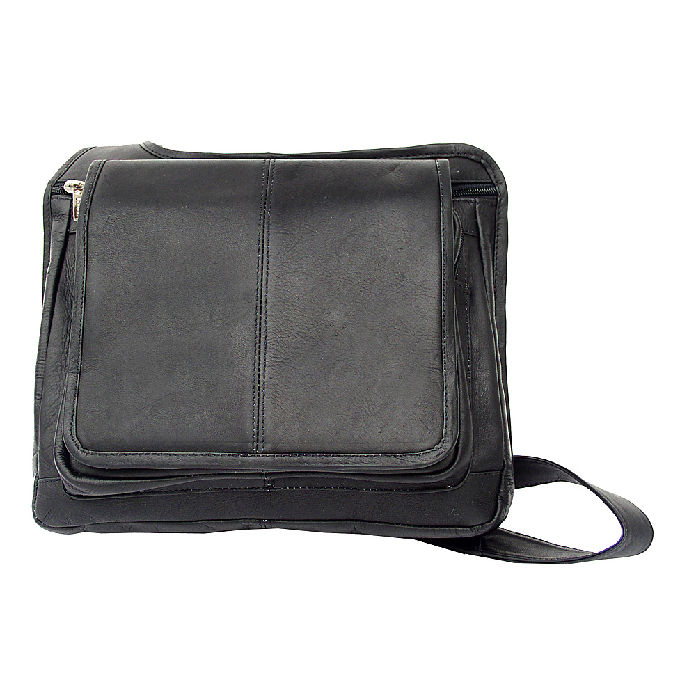 Piel Slim-Line Flap Over Ladys Bag - Black - Handbags, Leather Handbags