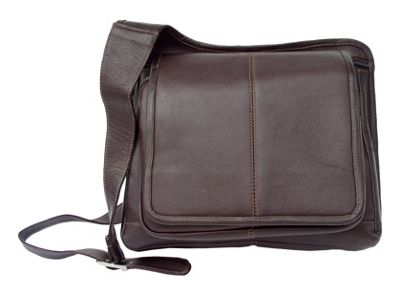Piel Slim-Line Flap Over Lady's Bag - Chocolate