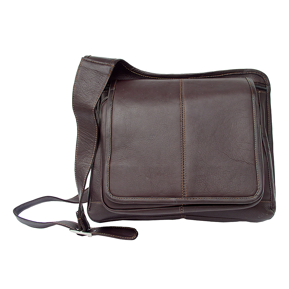 Piel Slim-Line Flap Over Ladys Bag - Chocolate - Handbags, Leather Handbags