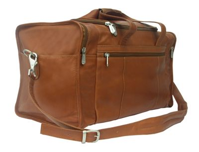 Piel Travel Duffle with Side Pocket Saddle - Piel Travel Duffels