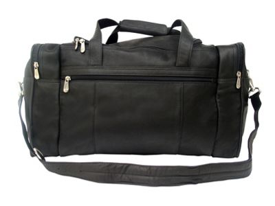 Piel Travel Duffle with Side Pocket - Black