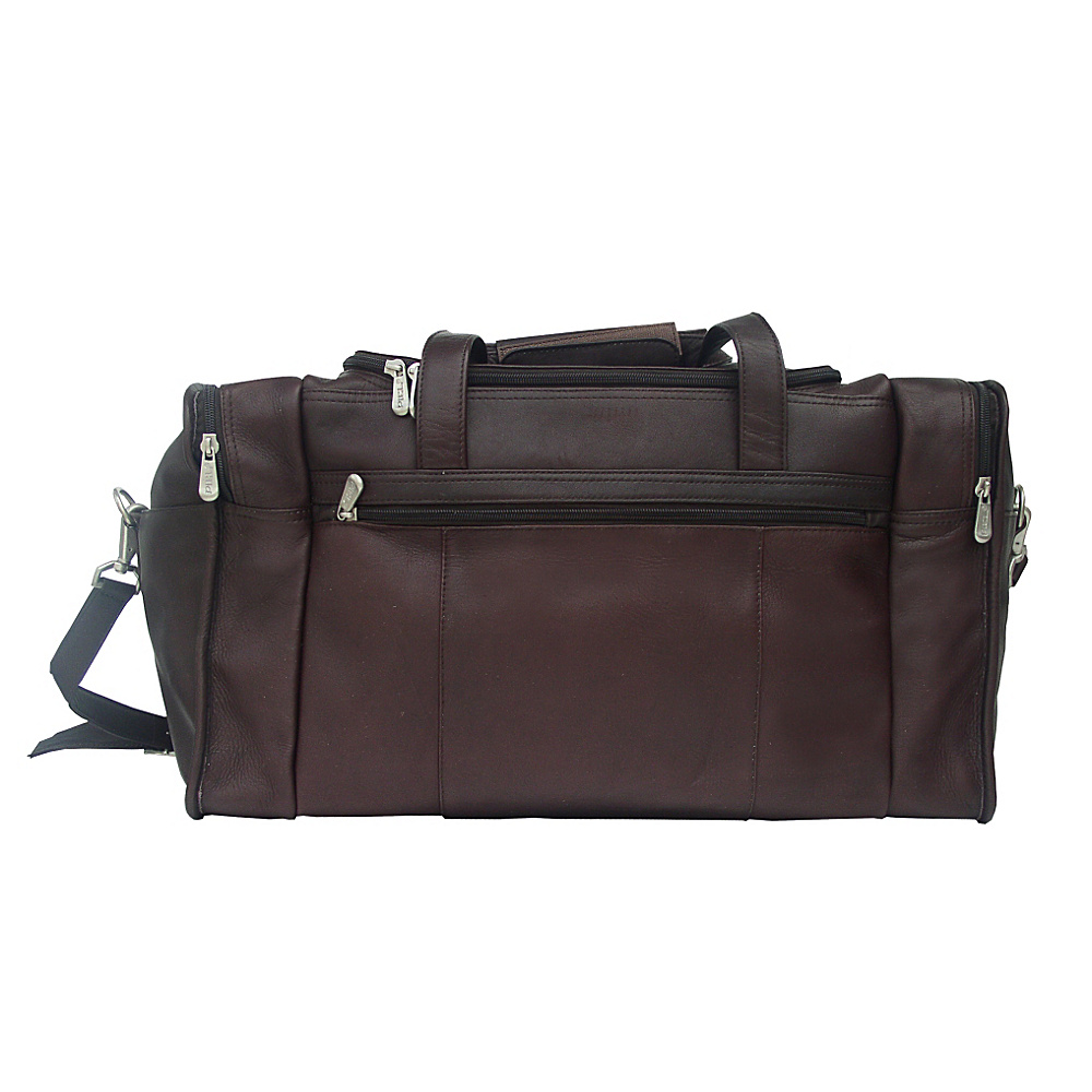 Piel Travel Duffle with Side Pocket - Chocolate - Duffels, Travel Duffels