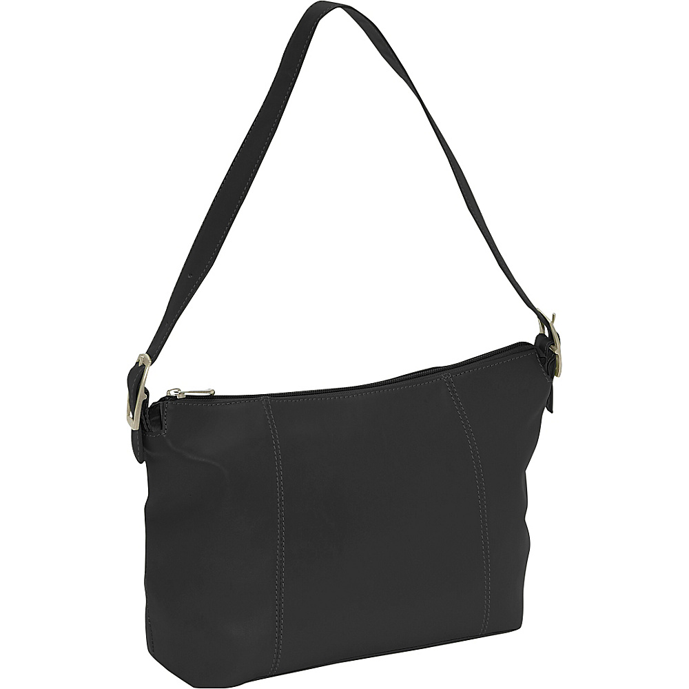 Piel Medium Shoulder Bag - Black - Handbags, Leather Handbags