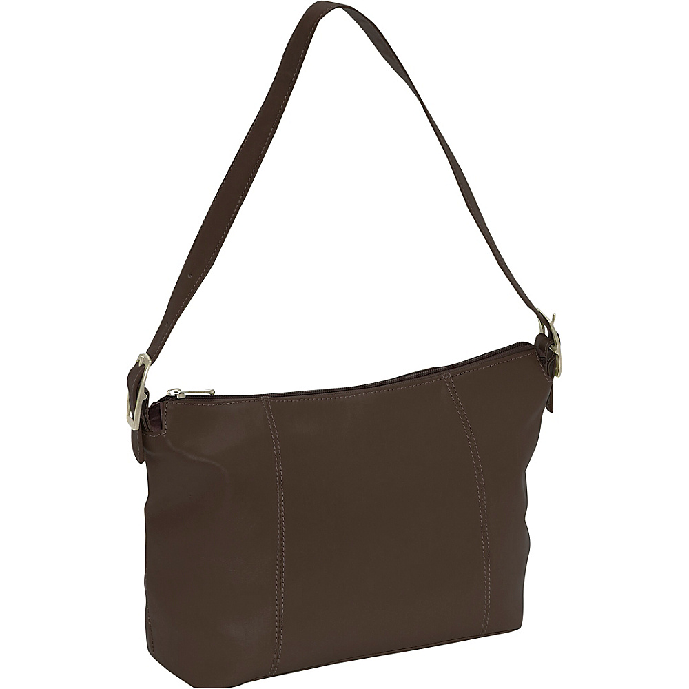 Piel Medium Shoulder Bag - Chocolate - Handbags, Leather Handbags