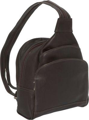 Piel Three-Pocket Sling Bag - Chocolate
