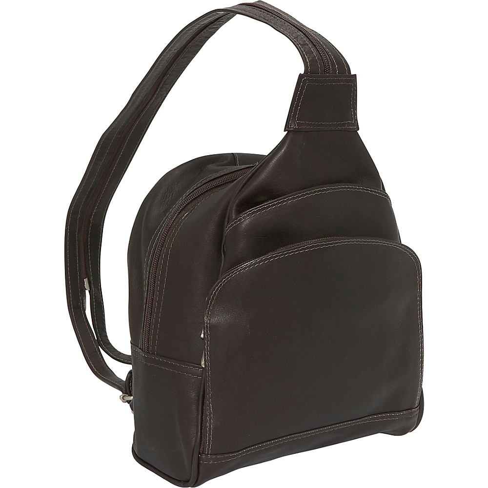 Piel Three-Pocket Sling Bag - Chocolate - Handbags, Leather Handbags