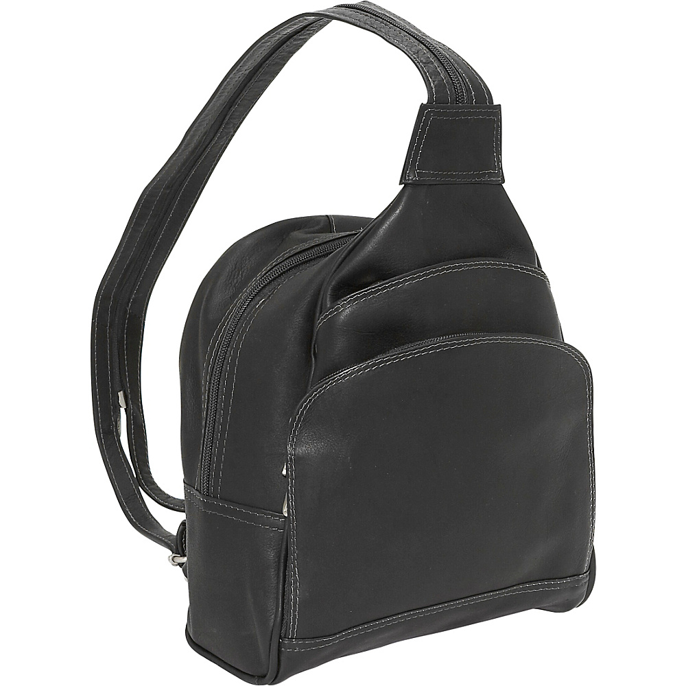 Piel Three-Pocket Sling Bag - Black - Handbags, Leather Handbags