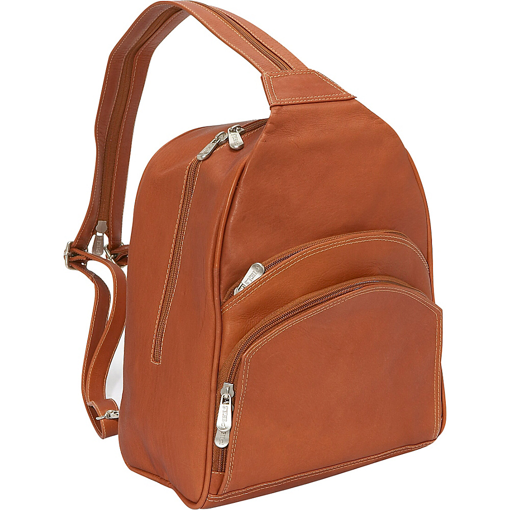 Piel Three-Pocket Sling Bag - Saddle - Handbags, Leather Handbags