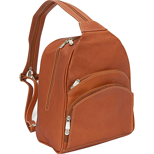 Piel Three-Pocket Sling Bag - Saddle