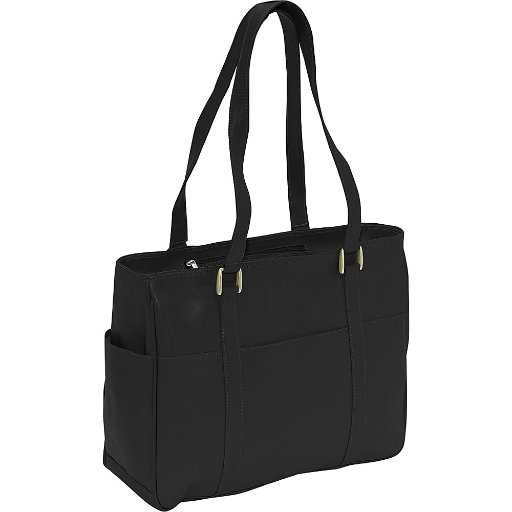 Piel Small Shopping Bag - Black - Handbags, Leather Handbags