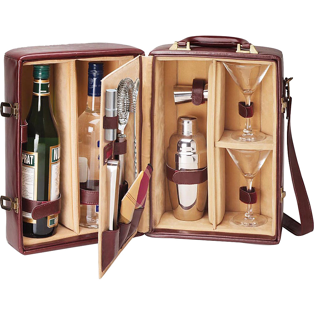 Picnic Time Manhattan Portable Cocktail Party Mahogany Tan Picnic Time Outdoor Accessories