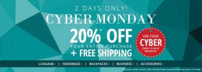 2 DAYS ONLY! CYBER MONDAY 20%* Off Your Entire Purchase