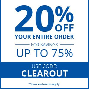 20% OFF YOUR ORDER FOR SAVINGS UP TO 75% USE CODE: CLEAROUT
