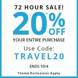 72 HOUR SALE! - 20% OFF YOUR ENTIRE ORDER - USE CODE: TRAVEL20 - ENDS 10/4