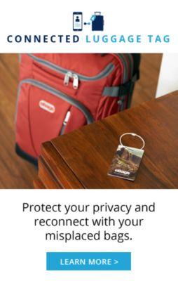 eBags Connected Luggage Tag protect your privacy and reconnect with your misplaced bag.