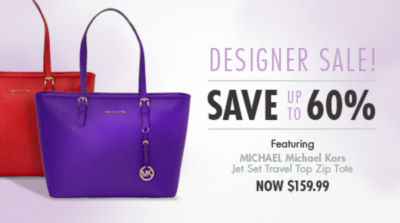 Shop Designer Sale and Save up to 60%!  MICHAEL Michael Kors Jet Set Travel Top Zip Tote now $159.99