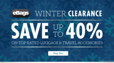 eBags Brand Year End Clearance: Save up to 40% on Top Rated Luggage & Travel Accessories! Shop Now