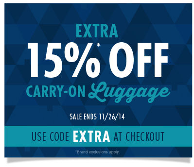 Save an Extra 15% on Carry-On Luggage - Use Code Extra at Checkout - Shop Now!