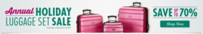 Annual Holiday Luggage Sale!  Save up to 70% - Shop Now