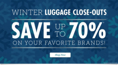 Winter Luggage Closeouts: Save up to 70% on Your Favorite Travel Bags. Shop Now