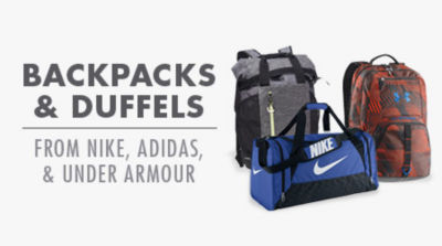 Backpacks and Duffels from Nike, Adidas, and Under Armour