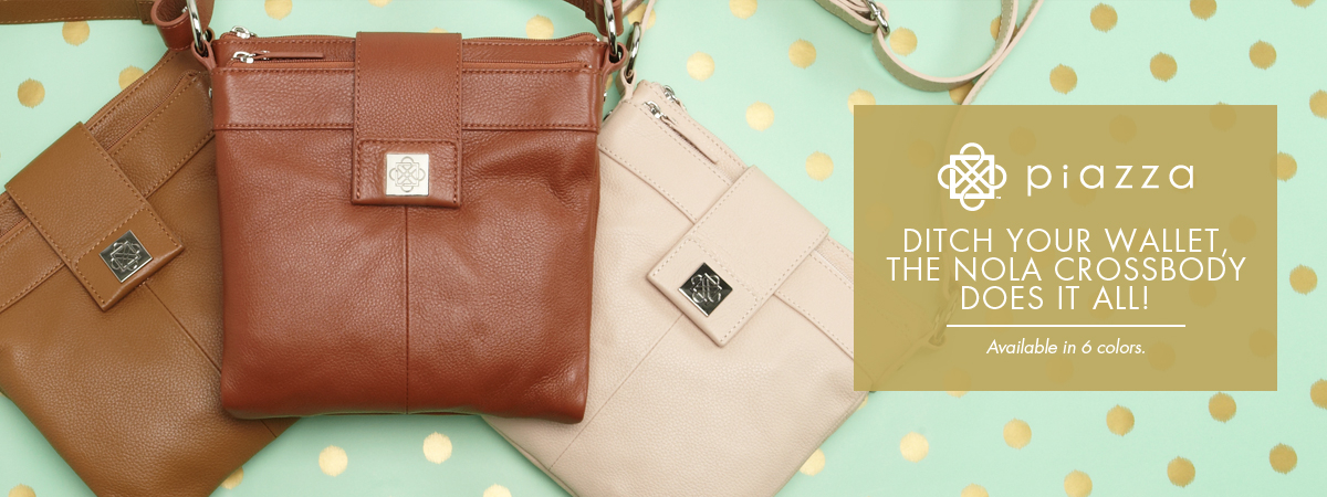Piazza Handbags | Ditch your wallet, The Nola Crossbody does it all!  Available in 6 colors.