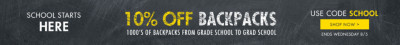 School Starts Here - 10% Off Backpacks - Use Code: School - Ends Wednesday 8/5