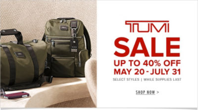 TUMI SALE - Up to 40% Off - May 20 thru July 31 - Shop Now