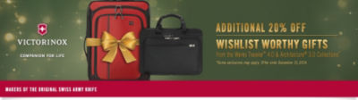 Victorinox Sale - Save 20% on Werks Traveler 4.0 & Architecture 3.0