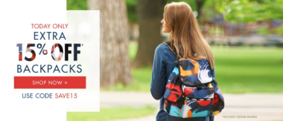 Extra 15% Off* Backpacks - Today Only - Use Code SAVE15 *Excludes certain brands.