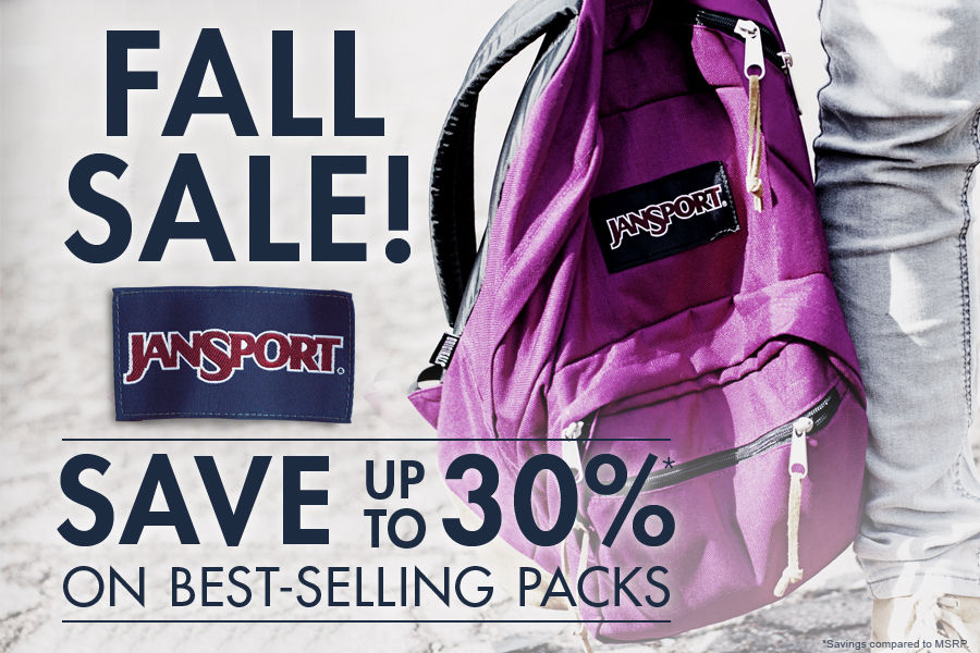 Shop JanSport Fall Sale! Save up to 30% on best selling packs.