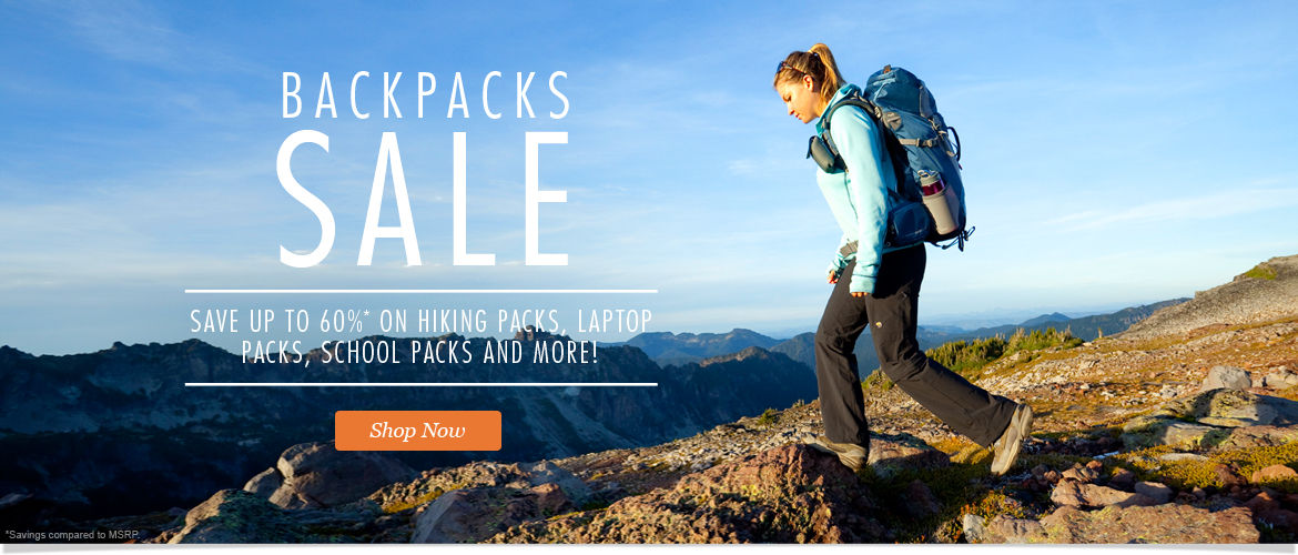 Backpacks Sale: Save up to 60% on Hiking Packs, Laptop Packs, School Packs and More! Shop Now