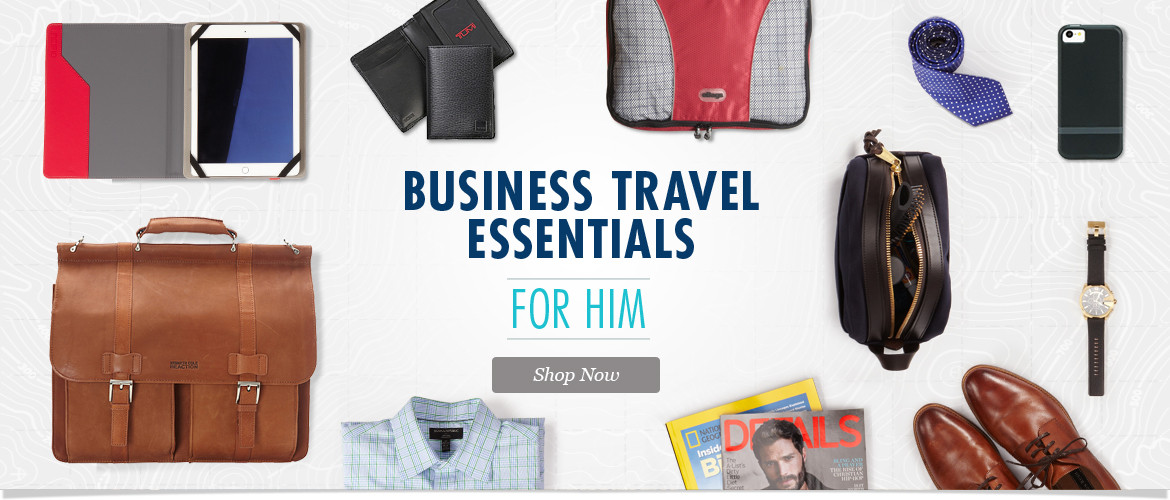 Business Travel Essentials for Him. Shop Tech Accessories, Laptop Bags, Travel Accessories, Wallets and More!