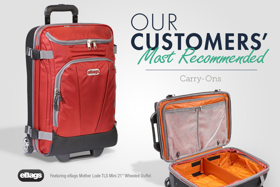 Shop Our Customers' Most Recommended Carry-Ons Featuring the eBags Mother Lode TLS Mini 21 inch Wheeled Duffel.