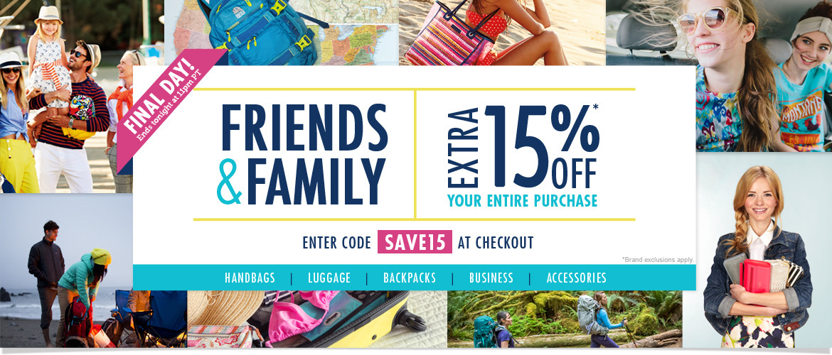 FINAL DAY: Friends & Family! Extra 15% OFF Your Entire Purchase with Code SAVE15. Sale ends Tuesday, 3/3/15