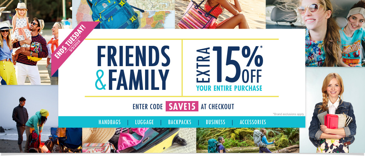 Friends & Family! Extra 15% OFF Your Entire Purchase with Code SAVE15. Sale ends Tuesday, 3/3/15
